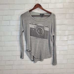 Forever 21 graphic camera long sleeve